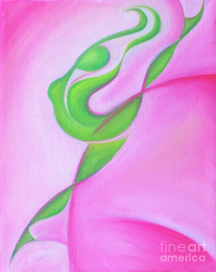 Abstract Expressionist Painting - Dancing Sprite In Pink And Green by Tiffany Davis-Rustam