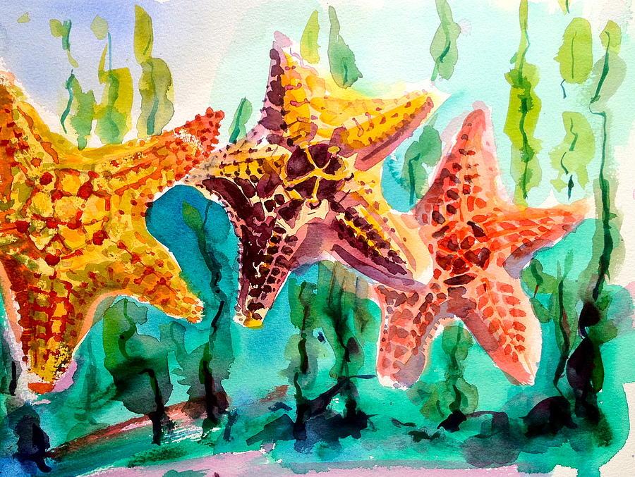 Watercolor Painting - Dancing Stars by Barbara Richert