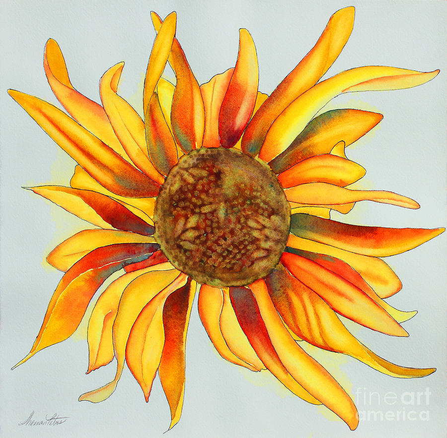Sunflower Painting - Dancing Sunflower by Shannan Peters