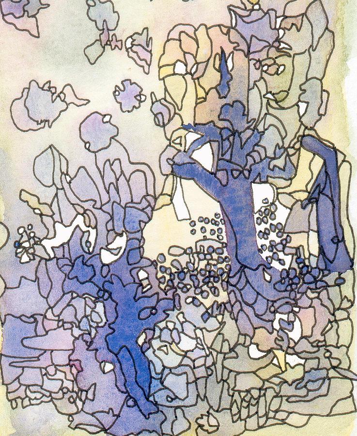 Abstract Painting - Dancing Trees II by Ingela Christina Rahm