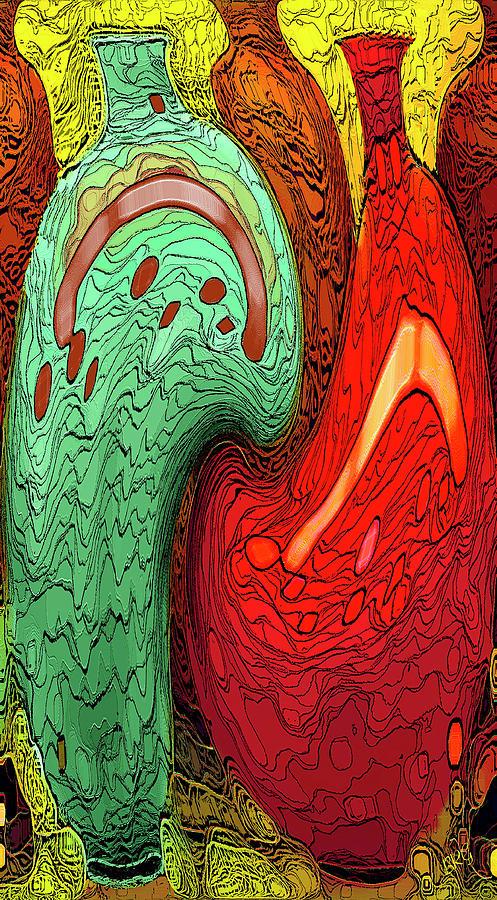 Red And Green Digital Art - Dancing Vases by Ben and Raisa Gertsberg