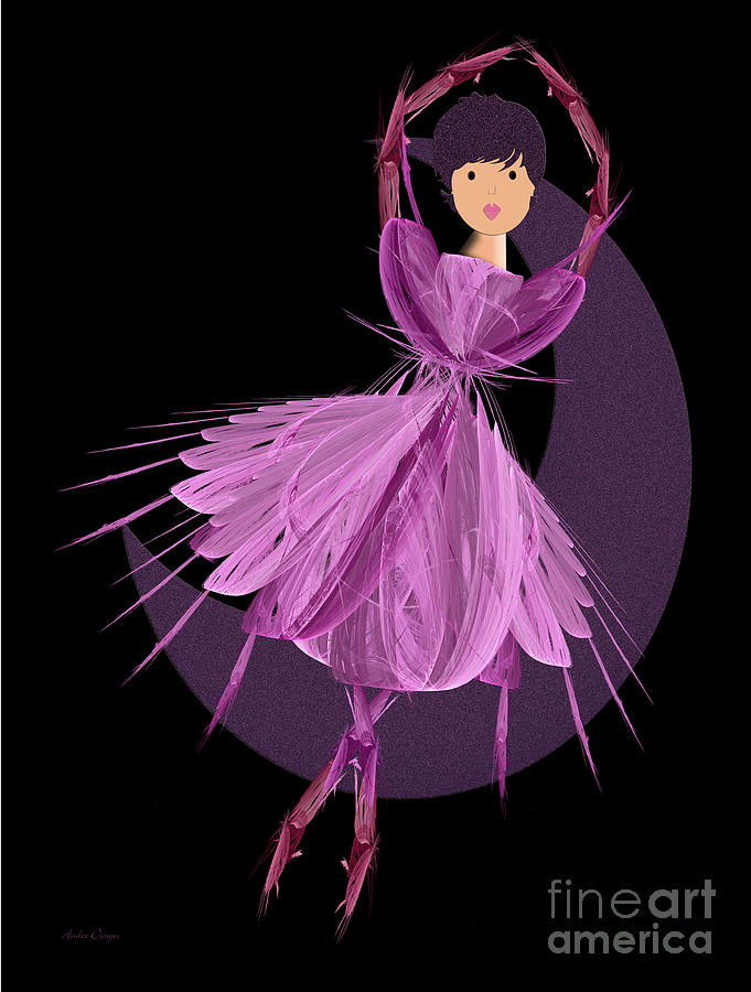 Ballerina Digital Art - Dancing With The Moon A by Andee Design
