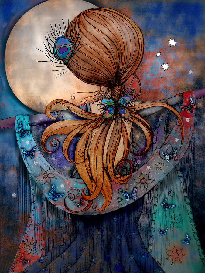 Blue Painting - Dancing With The Moon by Karin Taylor