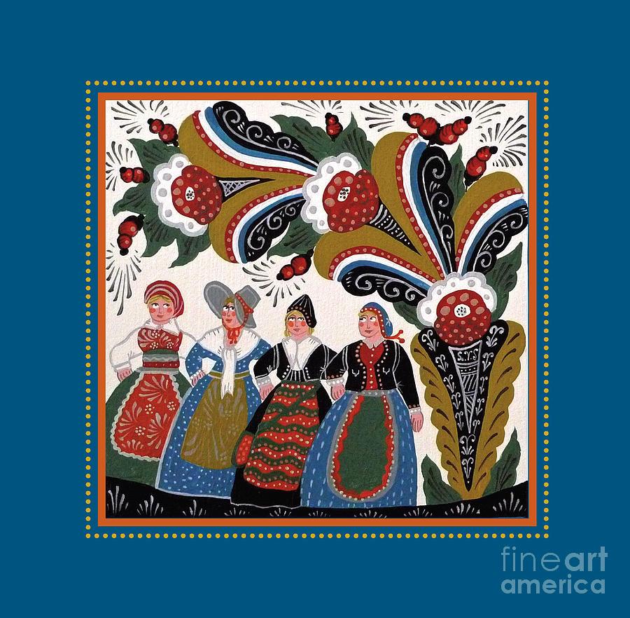 Kurbits Painting - Dancing Women 4 by Leif Sodergren
