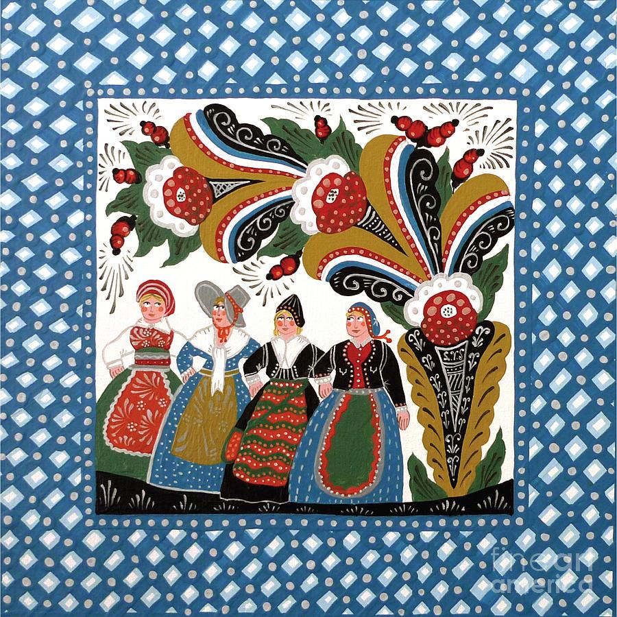Dala Painting - Dancing Women by Leif Sodergren