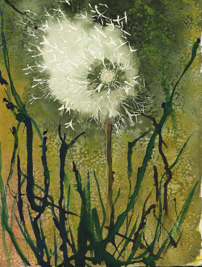 Dandelion Clock Painting By Elaine F Thompson
