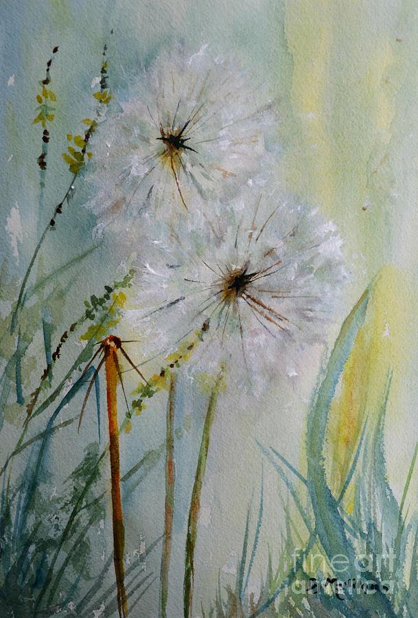 Dandelion Clocks Painting By Betty Mulligan