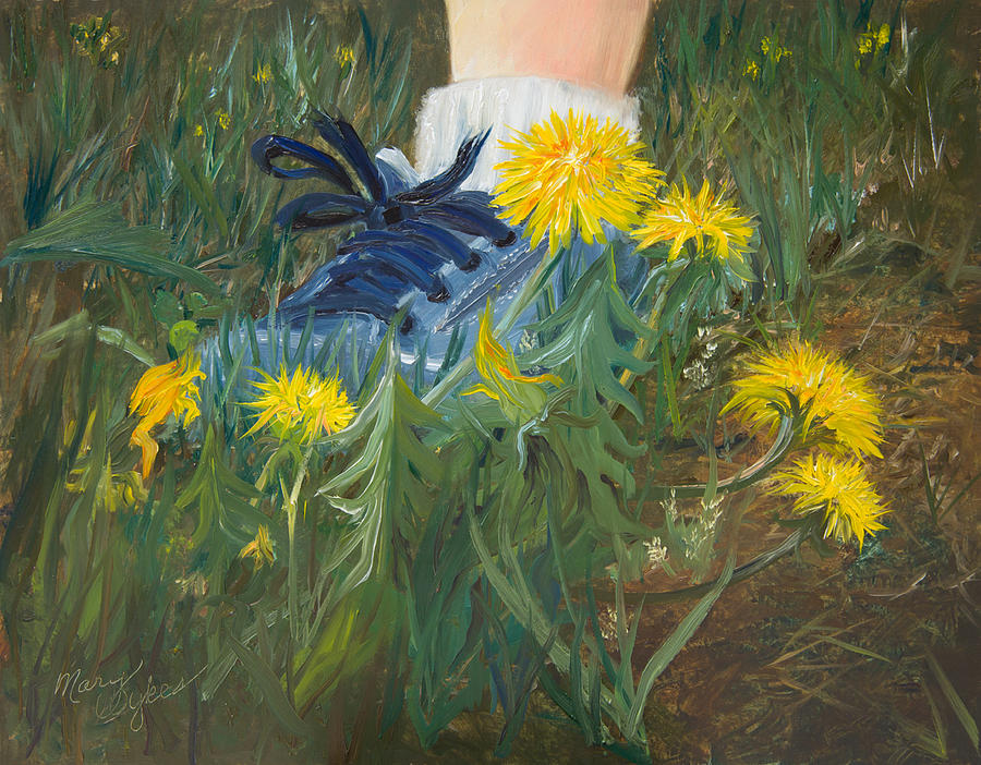 Dandelions Painting - Dandelion Dance by Mary Beglau Wykes
