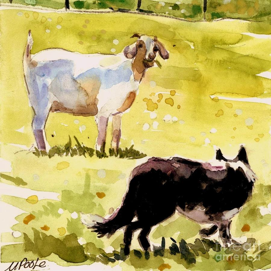 Goat Painting - Dandelion Greens by Molly Poole