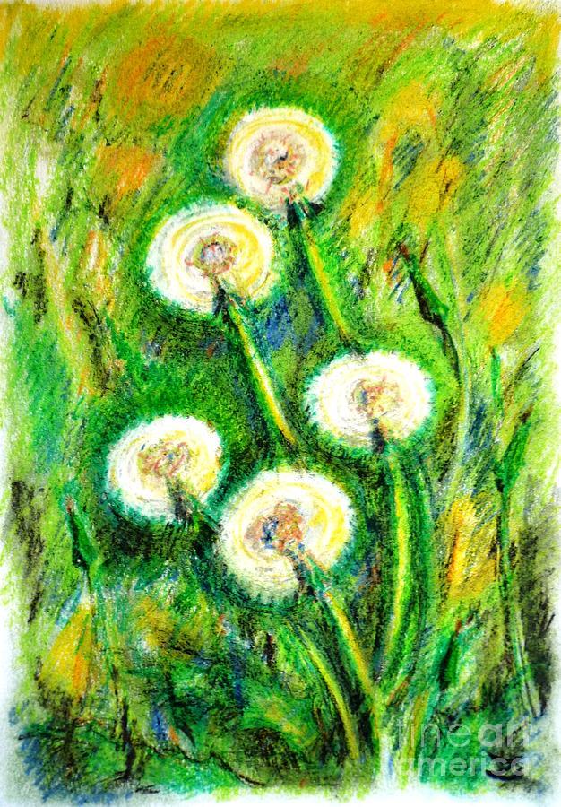 Dandelions Painting - Dandelions by Zaira Dzhaubaeva
