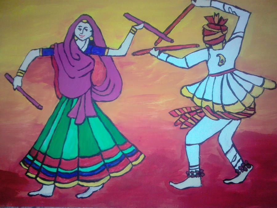 Dandia Raas Painting by Neha  Shah