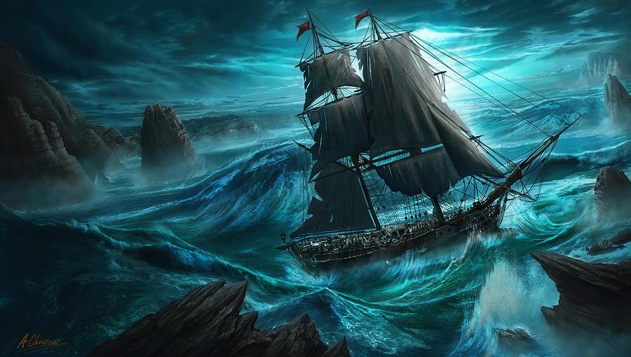 Ocean Digital Art - Dangerous Seas by Anthony Christou