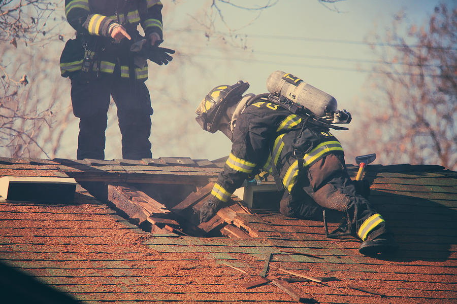 Firemen Photograph - Dangerous Work by Laurie Search