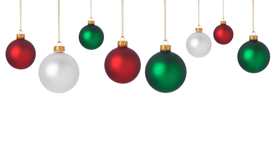 Dangling Red, Green, And White Christmas Ornaments Photograph by DawnPoland