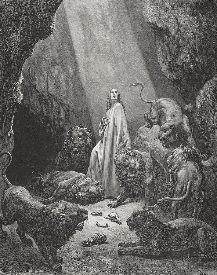 Lion Painting - Daniel In The Den Of Lions by Gustave Dore