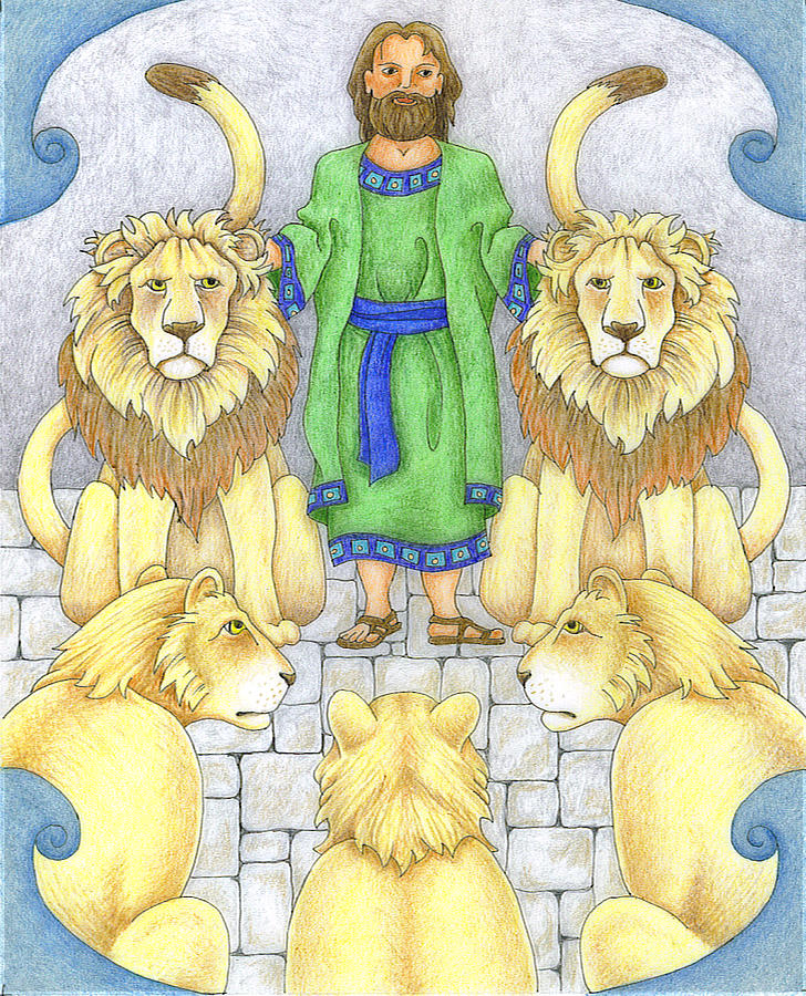 Bible Drawing - Daniel In The Lions Den by Alison Stein