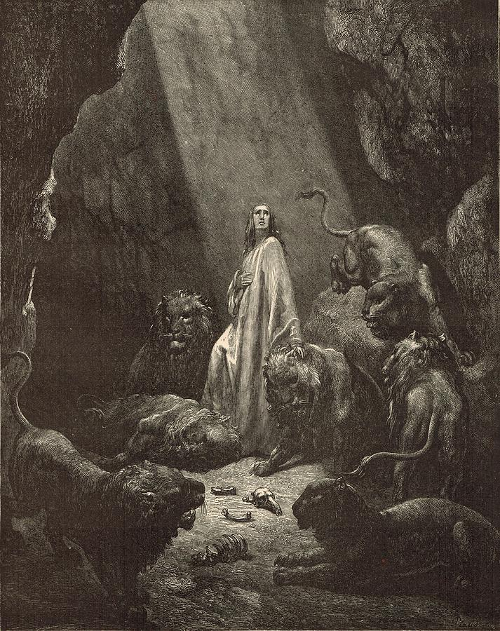Biblical Drawing - Daniel In The Lions Den by Antique Engravings