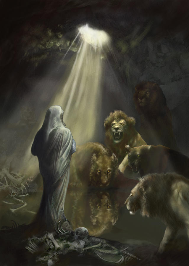 bible painting daniel in the lions den by matt kedzierski