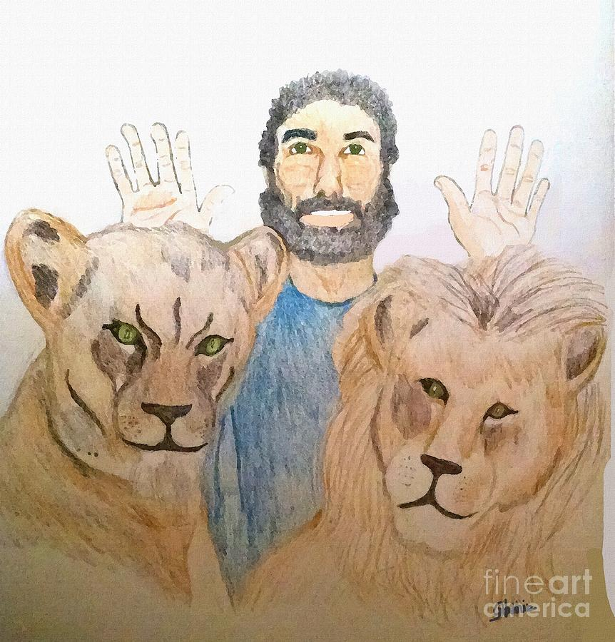 Religious Painting - Daniel in the Lions Den by Pharris Art