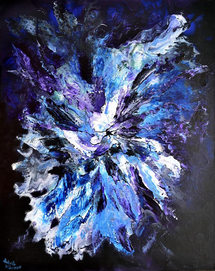 Abysses   Ocean  Blue  Purple Black   Painting - Dans La Penombre Des Abysses by Isabelle Vobmann