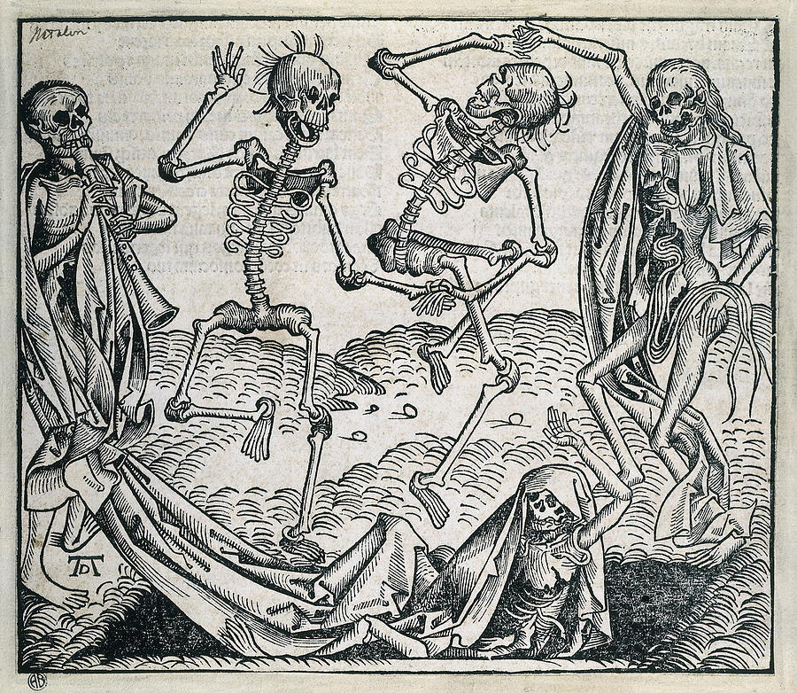 Horizontal Photograph - Danse Macabre Or Dance Of Death 1493 by Everett