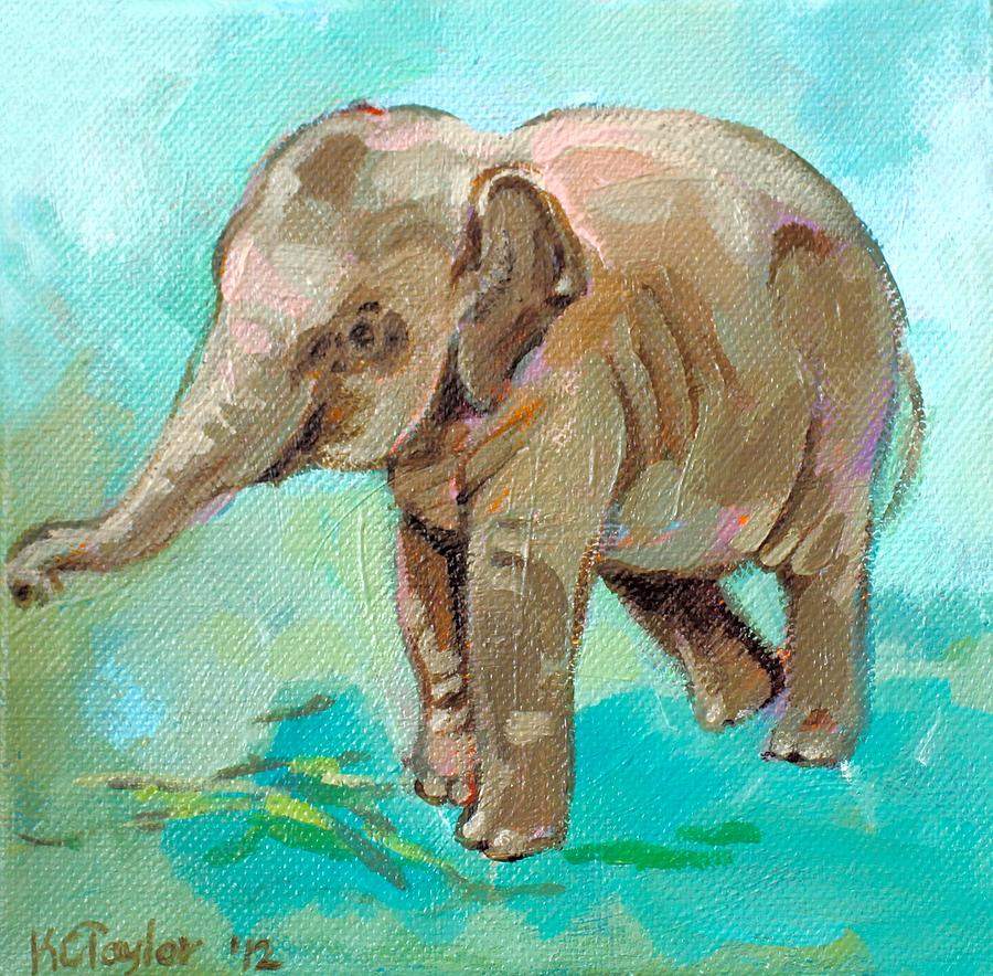 Elephant Painting - Dante Teal by Kathleen Taylor