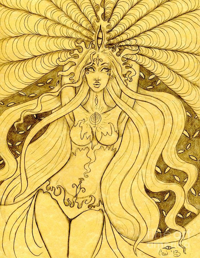 Danu Drawing - Danu Rising Sketch by Coriander  Shea