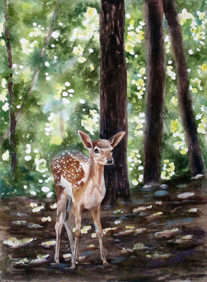 Fawn Painting - Dappled Innocence by Mary McCullah