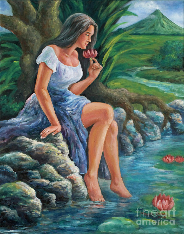 Nature Painting - daragang magayon -beautiful lady in Mayon by Manuel Cadag