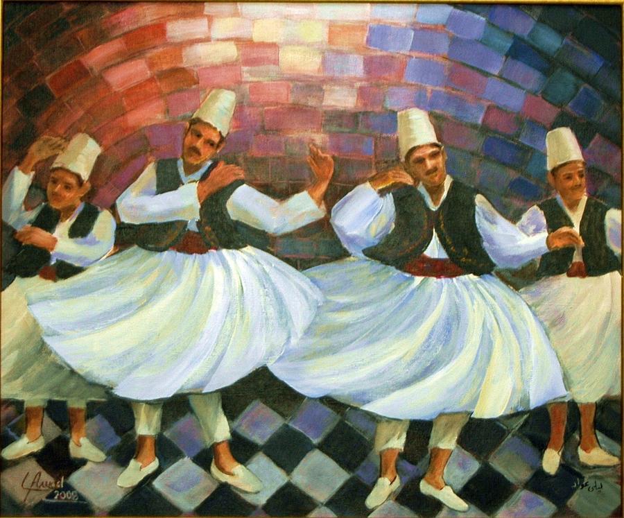 Daraweesh Dancing Painting by Laila Awad Jamaleldin