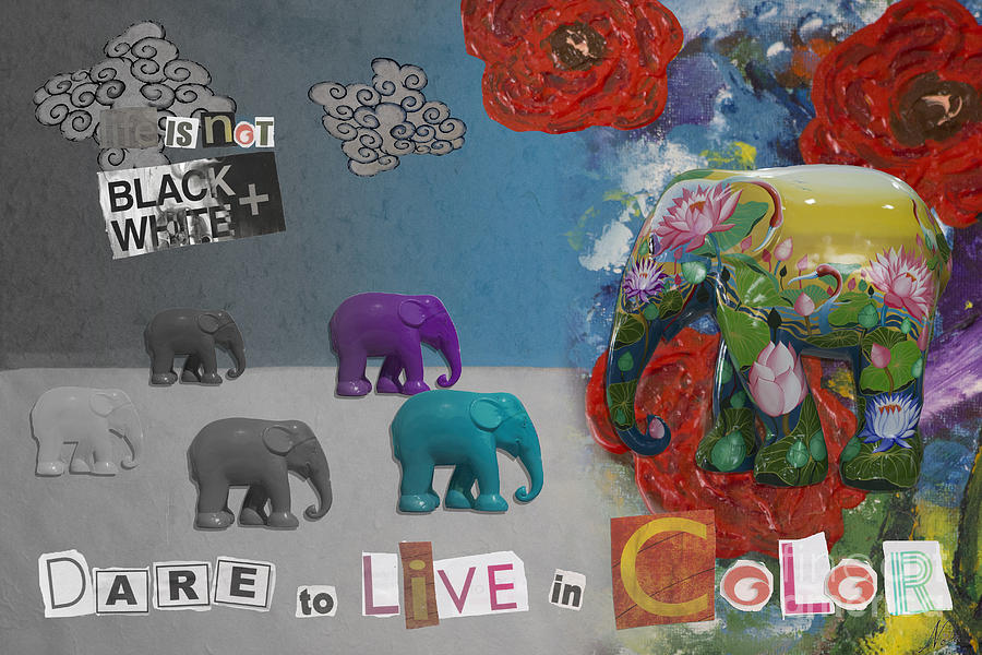 Inspirational Mixed Media - Dare To Live In Color by Nola Lee Kelsey