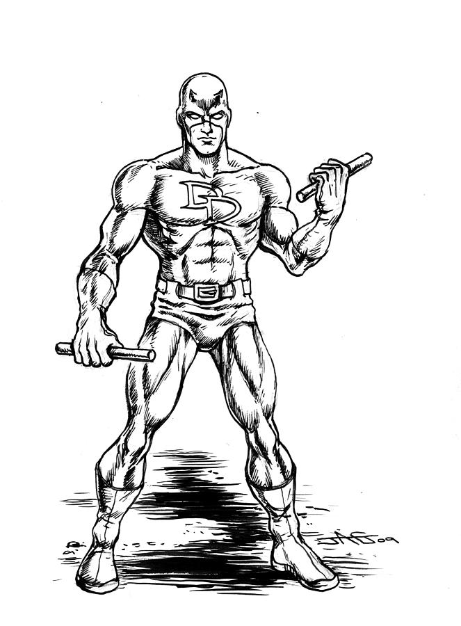 Daredevil drawing by john ashton golden for Daredevil coloring pages