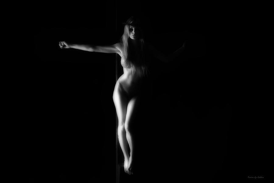 B&w Photograph - Dark Black And White Crucified Woman by Ramon Martinez