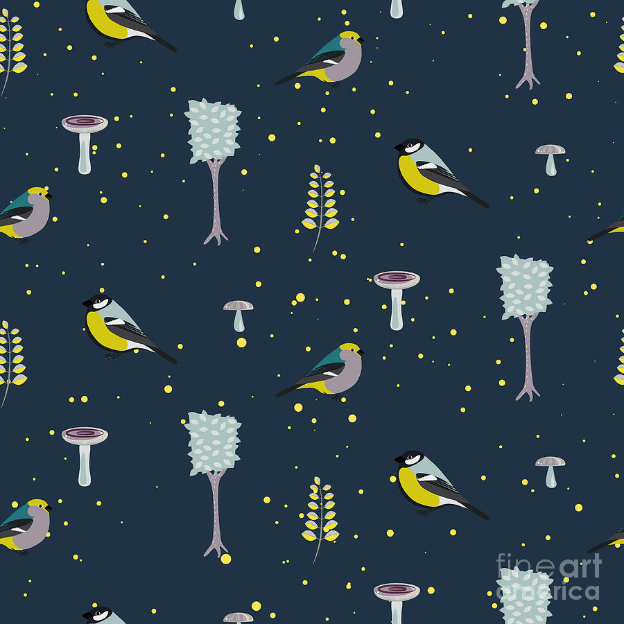 Berry Digital Art - Dark Blue Forest Seamless Pattern With by Yopixart
