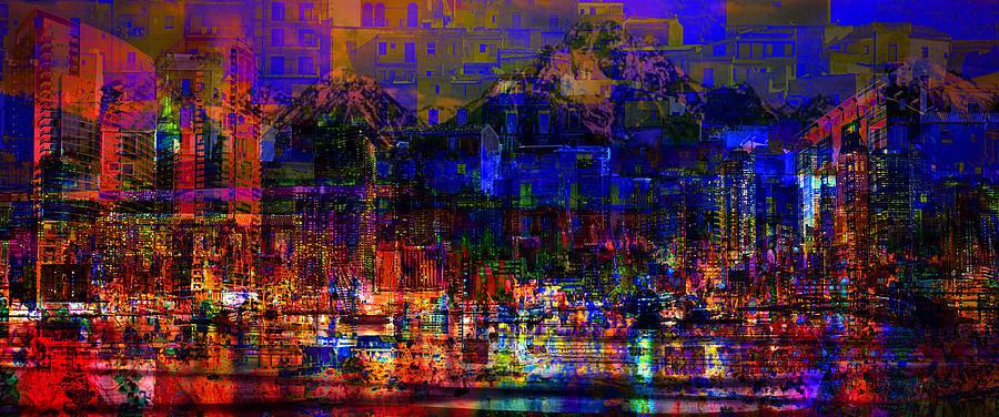 City Digital Art - Dark City Lights Cityscape by Mary Clanahan