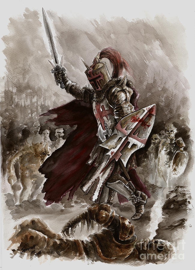 Crusader Painting - Dark Crusader by Mariusz Szmerdt