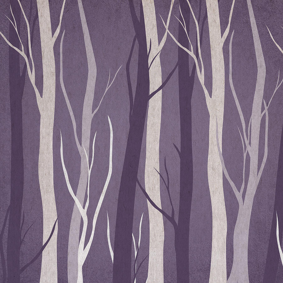 Watercolor Digital Art - Dark Forest by Aged Pixel