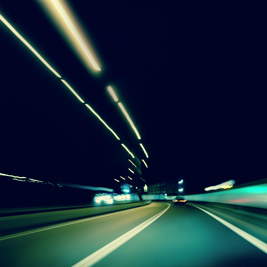 Dark Highway At Night, With Streaks Of Photograph by 77studio
