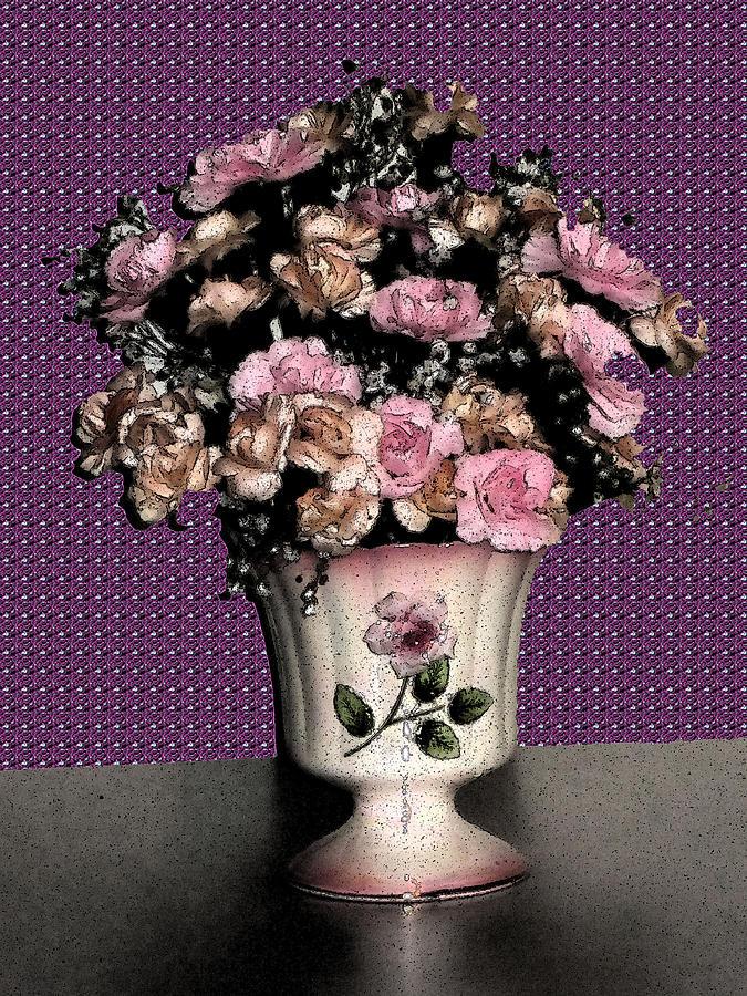 Mid-century Digital Art - Dark Ink Vase And Flowers by Good Taste Art