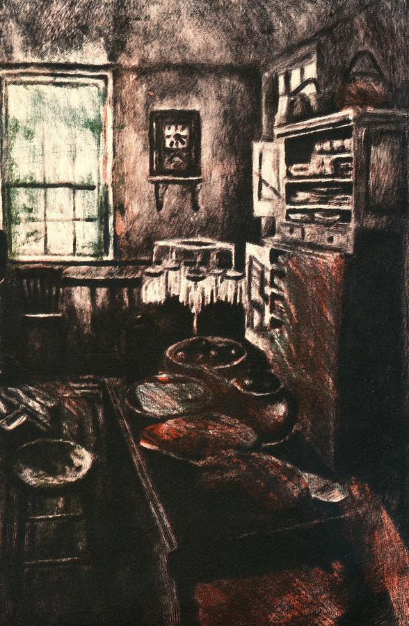 Kitchen Drawing - Dark Kitchen by Kendall Kessler