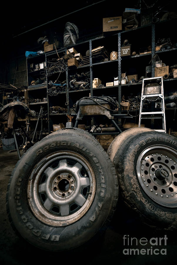 Equipment Photograph - Dark Old Garage by Amy Cicconi
