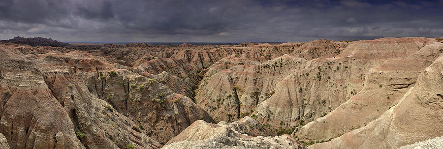 South Photograph - Dark Panorama Over The South Dakota Badlands by Sebastien Coursol