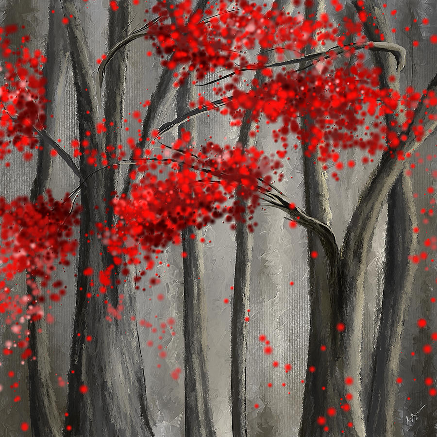 Dark Passion- Red And Gray Art Painting