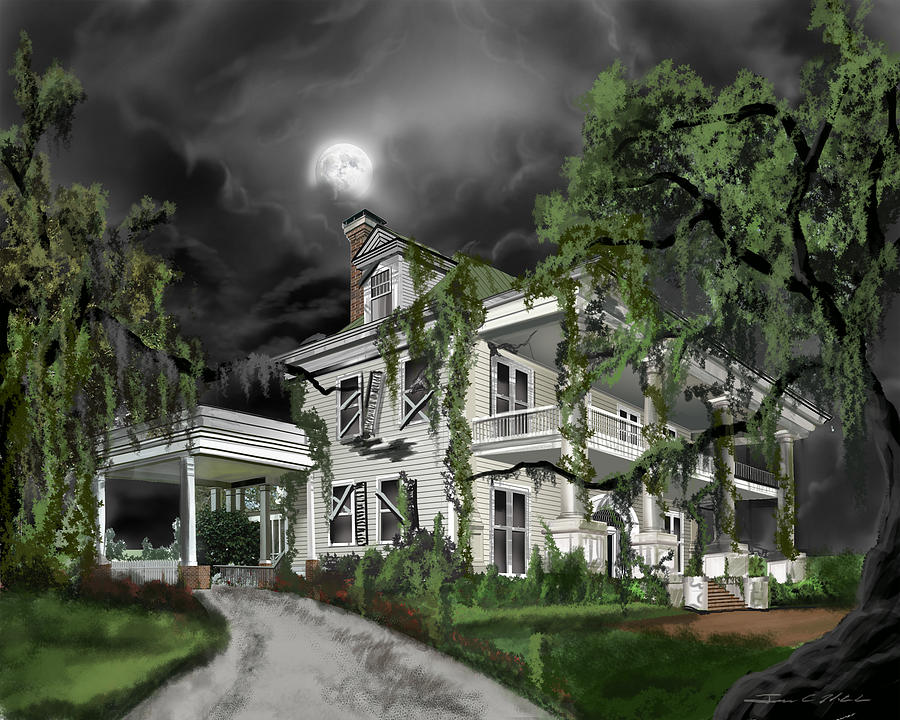 James Hill Studios Painting - Dark Plantation House by James Christopher Hill