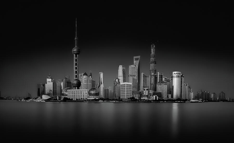 Low Key Photograph - Dark Pudong by Stefan Schilbe