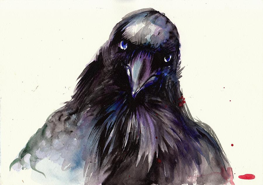 Dark Raven Head Detail - Crow Head Painting by Tiberiu Soos