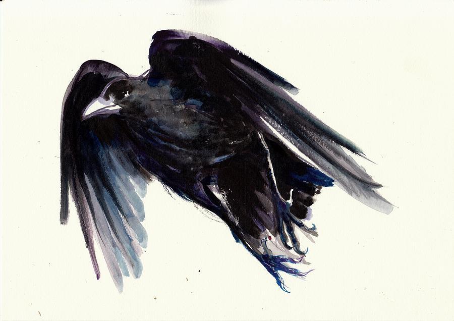 Dark Raven In Flight Crow Flying Painting By Tiberiu Soos