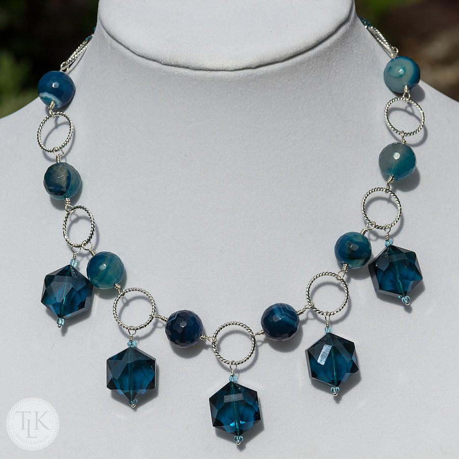 Tlk Photograph - Dark Turquoise Crystal And Faceted Agate Necklace 3676 by Teresa Mucha