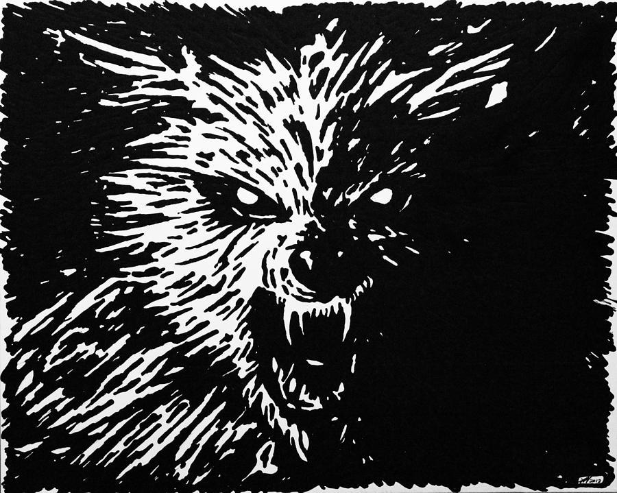 Dark Wolf Painting - Dark Wolf by Kris Night