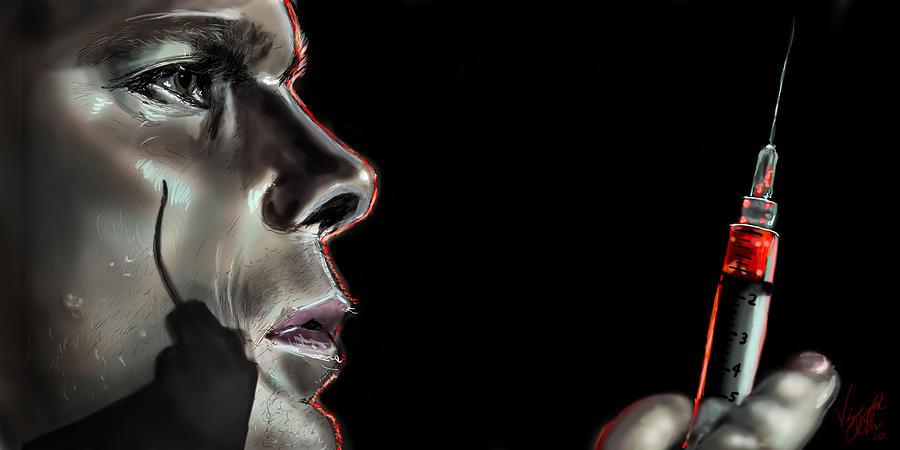 Dexter Drawing - Darkly Dreaming Dexter by Vinny John Usuriello
